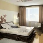 Модные шторы 2014 года в спальне кофейные легкие