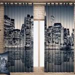 Оформление окна шторы с городом