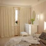 Светлые плотные шторы для спальни хозяев