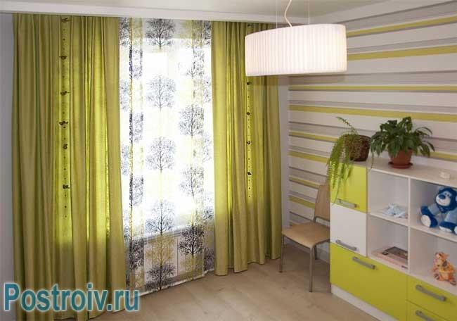 Дизайн штор в детскую оливковый цвет тюль