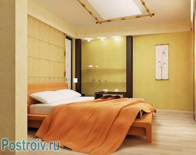 Интерьер спальни в современном стиле в светло желтых тонах