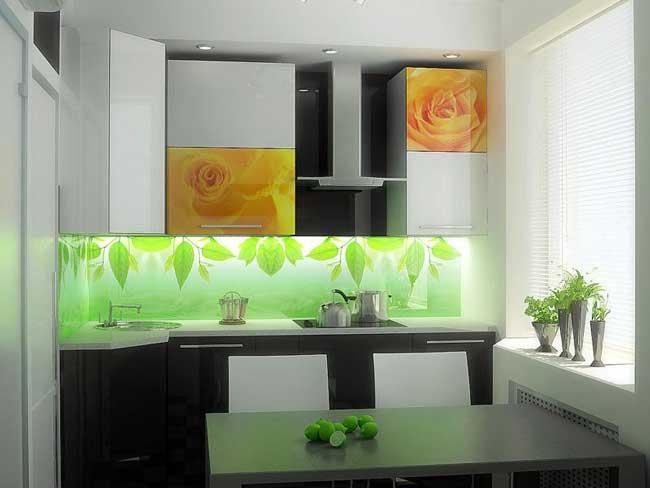 Подсветка стеклянного фартука на кухне оформление