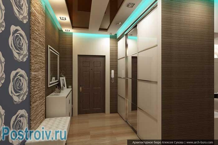 Двухуровневый потолок в дизайне коридора. Фото