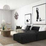 Дизайн большой гостиной белыми стенами и модульными картинами