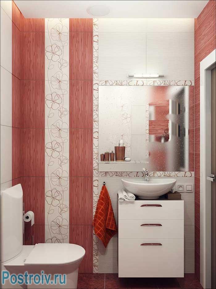 Подвесной шкафчик в маленькой ванной отличное решение