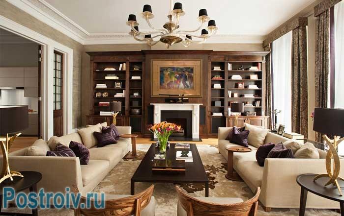 Как расставить мебель в гостиной: симметричный способ расстановки, два дивана и стулья