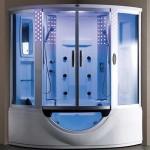 Дизайн душевой кабины с подсветкой в ванной