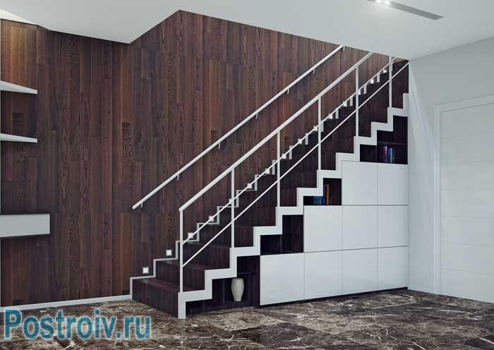 Дизайн лестницы-шкафа в квартире в стиле минимализм