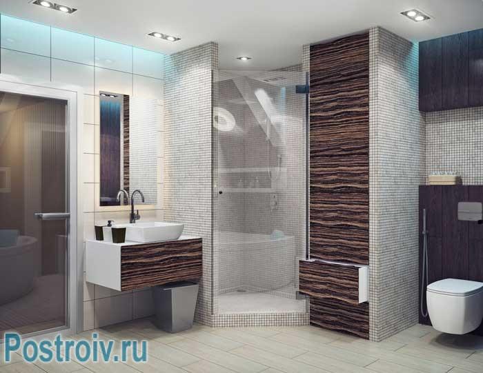 Дизайн ванной в стиле минимализм и лофт. Душевая кабина