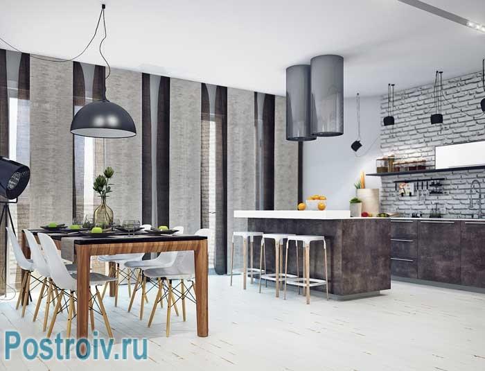 Декоративный белый кирпич в интерьере кухни. Слияние двух стилей. Фото