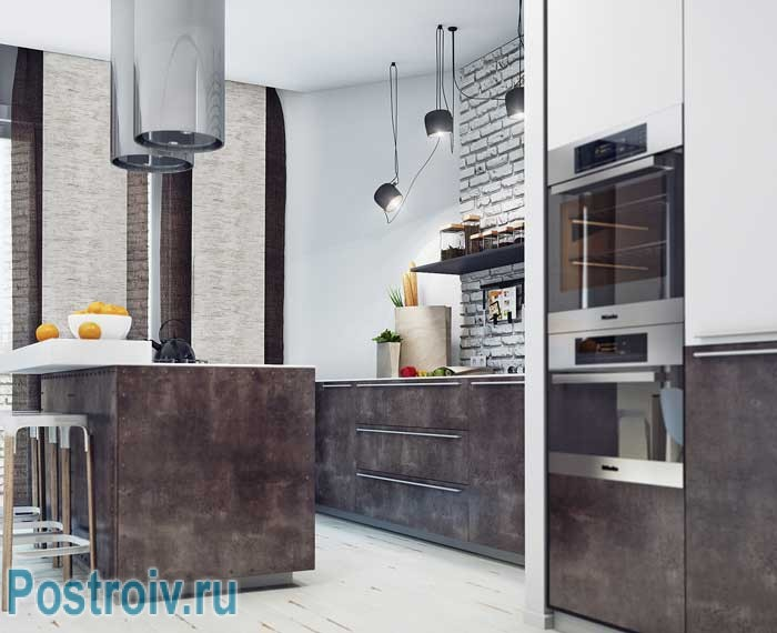 Дизайн современной кухни в стилях лофт и минимализм. Кухонный остров. Фото