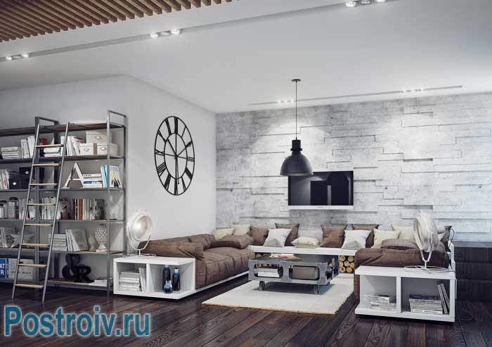 Дизайн современной гостиной в стиле минимализм. Кирпичная стена в интерьере