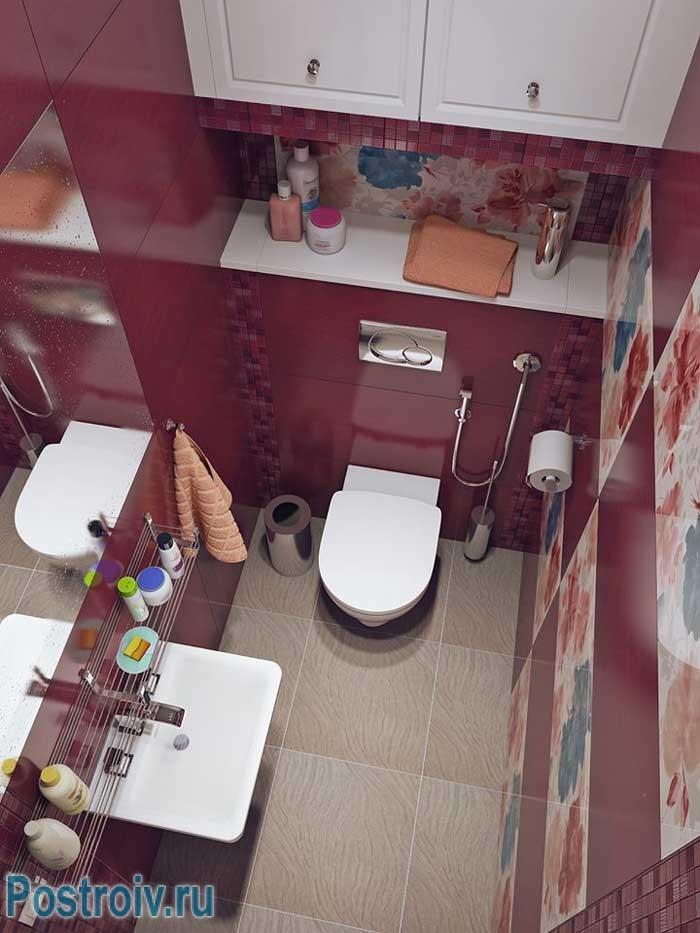 Отличное решение дизайна для туалета. Фото