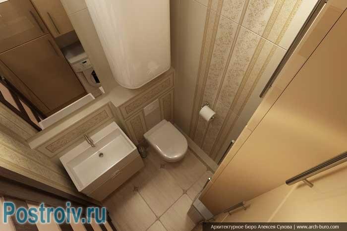 Светлый маленький туалет с колонкой. Фото