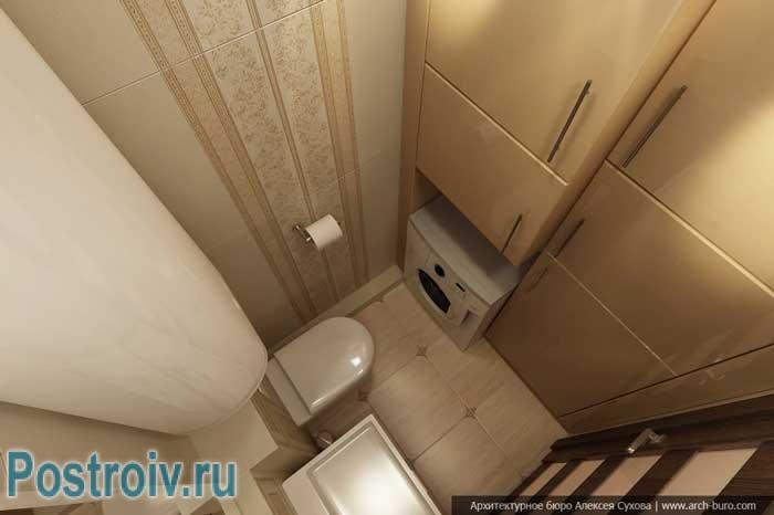 Дизайн проект маленького туалета. Фото