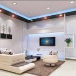 Модный интерьер 2014. Использование двухуровневого потолка с точечными светильниками