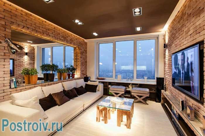 Интерьер гостиной в стиле Лофт. Модное оформление 2014
