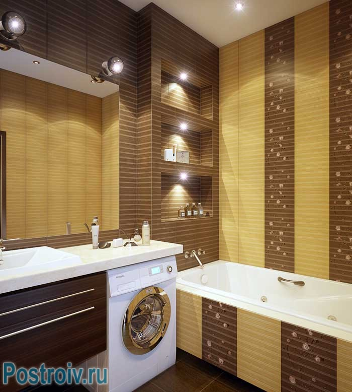 Дизайн желто-коричневой ванной комнаты. Фото
