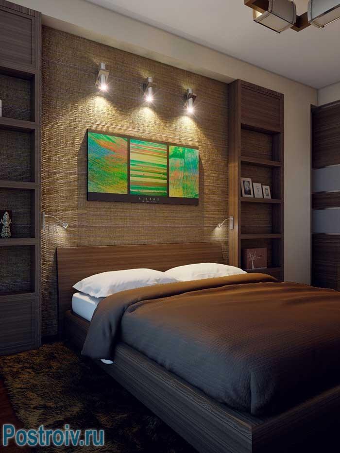 Картины над кроватью в спальне. Фото