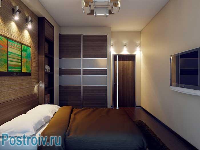 Дизайн спальни со шкафом купе. Фото
