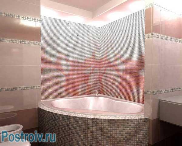Мозаика на стенах в ванной комнате с угловой ванной. Фото