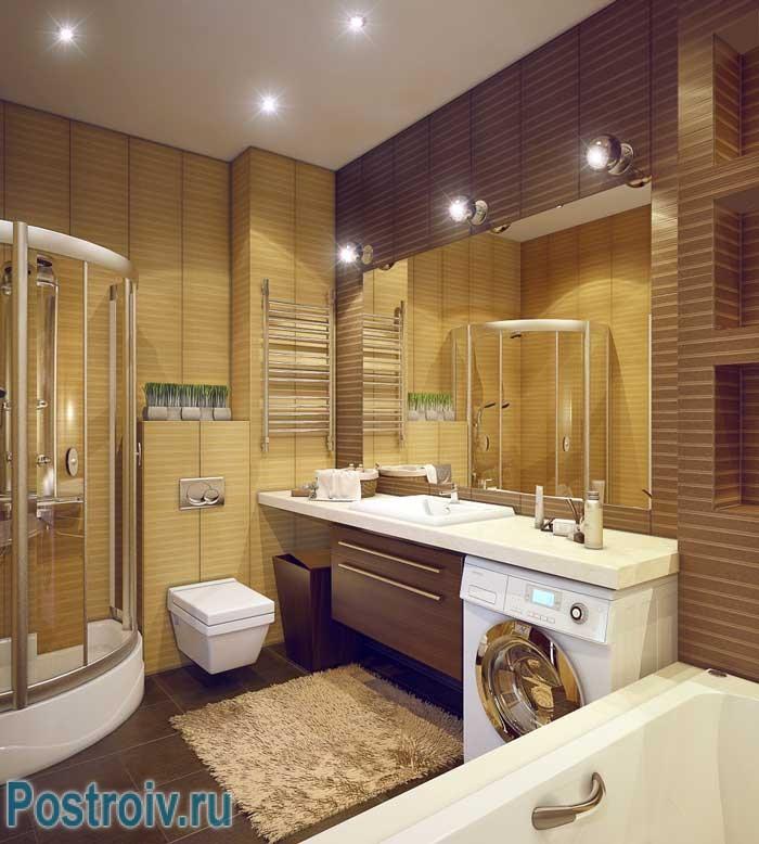 Дизайн большой ванной комнаты с ванной и душевой кабиной