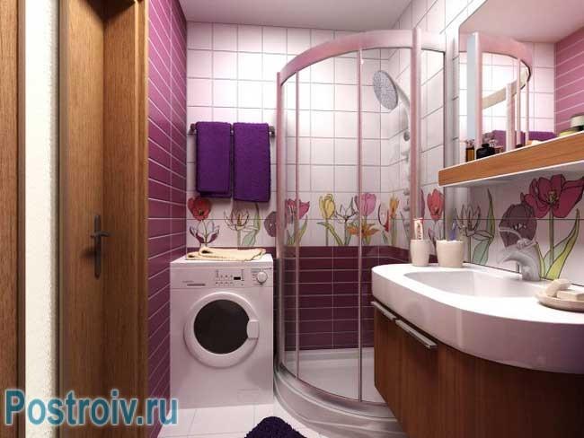 Красивая ванная комната с душевой кабиной. Фото