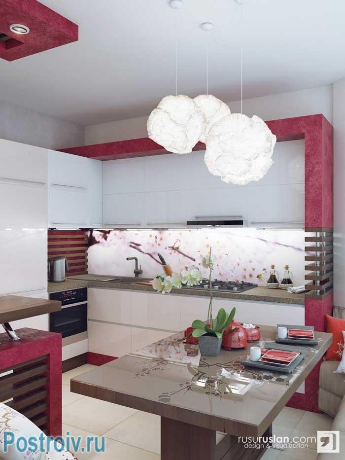 Белый кухонный гарнитур на кухне в японском стиле