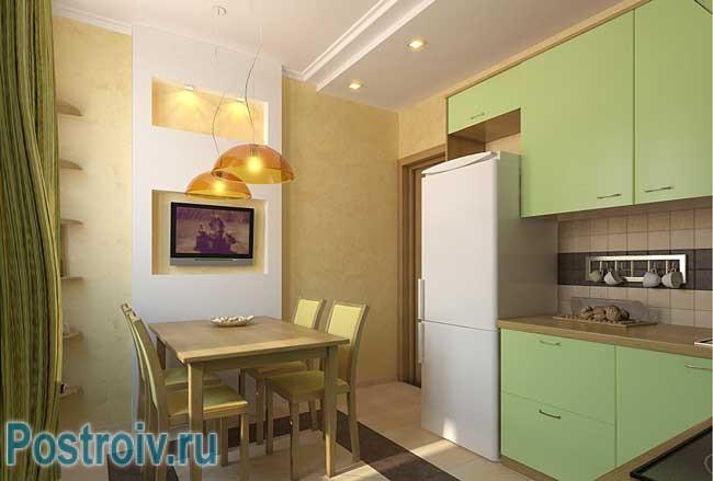 Светло зеленая кухня. Фото