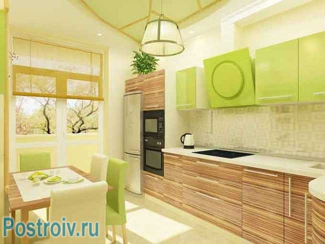 Кухня бежево-зеленого цвета. Фото