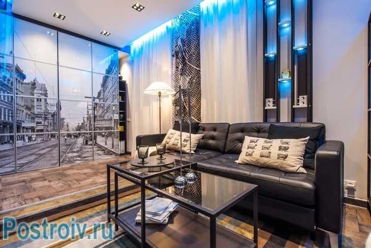 Дизайн гостиной в стиле лофт после ремонта - Фото