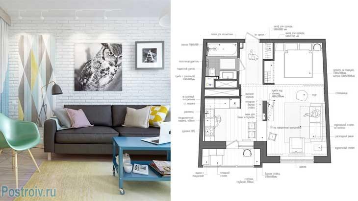 Интерьер однокомнатной квартиры после ремонта. 45 кв. м. скандинавский стиль - Фото