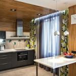 Зеленые шторы на кухне. Интерьер 2-комнатной квартиры