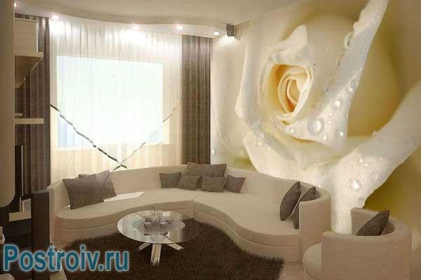 Фотообои в гостиной. Фото