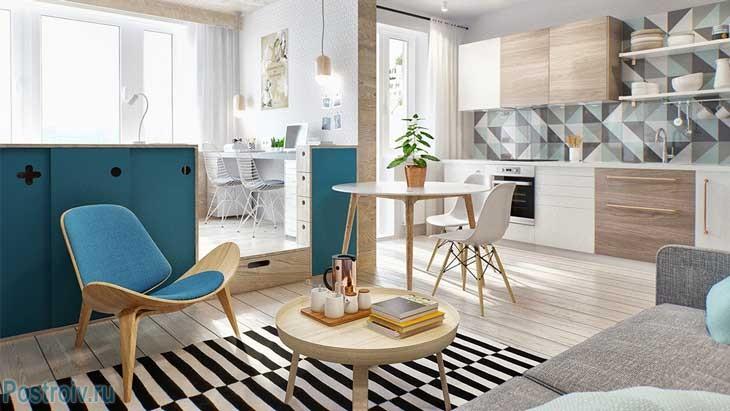 Интерьер однокомнатной квартиры для молодой семьи