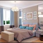 Дизайн хозяйской спальни с большими зеркалами. Модные голубые шторы на окнах - Фото