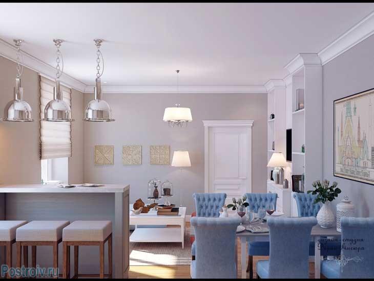Дизайн интерьера гостиной совмещенной с кухней и столовой. Светлые цвета - Фото