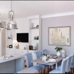 Столовая зона с большим столом и 6 стульями с мягкой обивкой голубого цвета - Фото