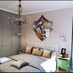 Интерьер спальни после ремонта с большим шкафом. Кровать с мягким изголовьем - Фото