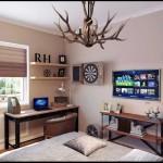 Спальня с телевизором на стене. И рабочим столом в угле - Фото