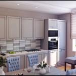 Маленькая кухонная зона со встроенной бытовой техникой. Фартук из декоративной плитки - Фото