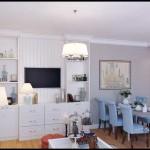 Гостиная-столовая 20-25 кв. м. в стиле нео классика. Светлые стены и потолок. Фото