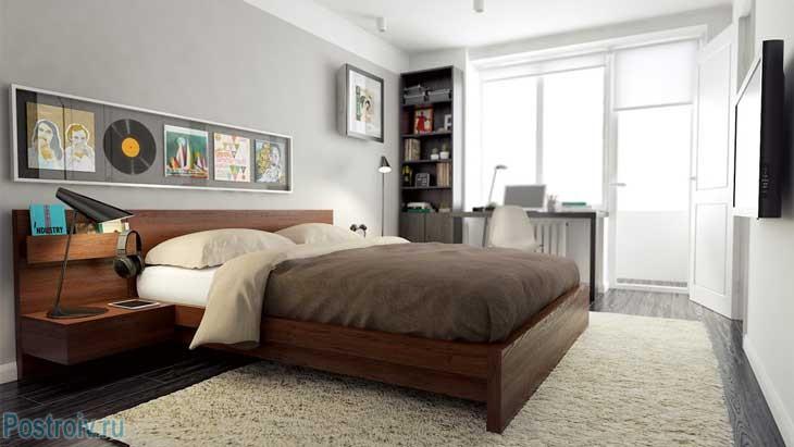 Дизайн отдельной спальни с большой кроватью. С рабочим столом у окна - Фото
