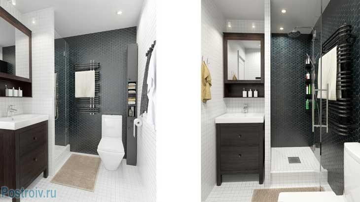 Совмещенная ванная комната 5, 6 кв. м. с душевой кабиной - Фото