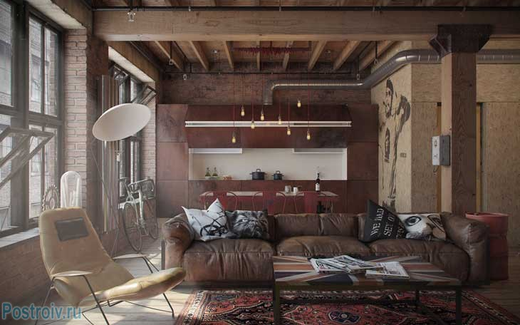 Квартира в стиле лофт. Фото