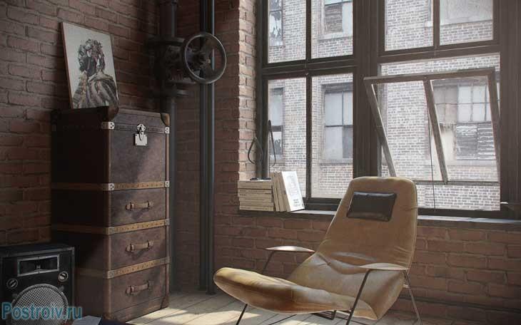 Правильное освещение комнаты в индустриальном стиле. Фото