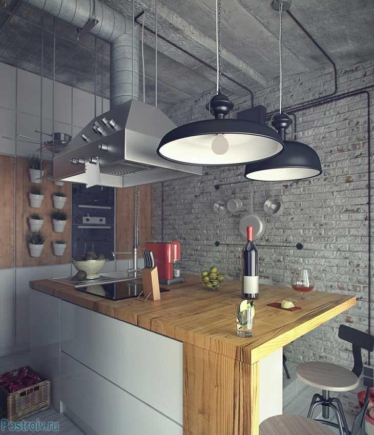 Индустриальный стиль на кухне. Черные люстры. Фото