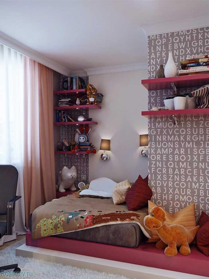 Основные цвета данного интерьера подростковой комнаты - вишневый и шоколадный. Фото