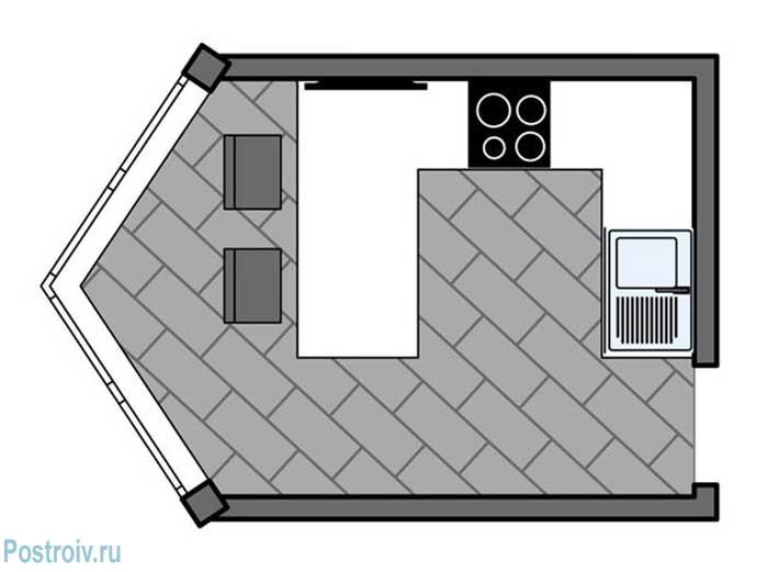 П - образная планировка кухни от 12 кв. м. в квартире с эркером или без него - Фото