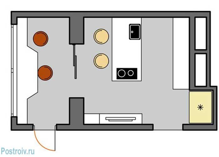Расположение мебели и бытовой техники на кухне с островом - Фото